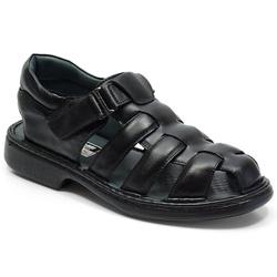 Sandália Conforto Em Couro Cor Preto Ref. 646-3040 - Sapatos de Franca