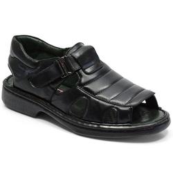 Sandália Conforto Em Couro Cor Preto Ref. 647-3000 - Sapatos de Franca