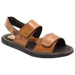 Sandália Conforto Em Couro Cor Whisky-458-150 - Sapatos de Franca