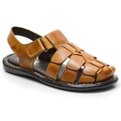 Sandália Conforto Em Couro Cor Whisky-607-501 - Sapatos de Franca