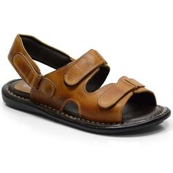 Sandália Conforto Em Couro Cor Whisky-609-100 - Sapatos de Franca