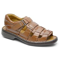 Sandália Conforto Em Couro Cor Whisky Ref. 620-301... - Sapatos de Franca