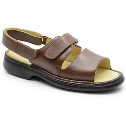 Sandália Conforto Em Couro Marrom Ref. 578-653 - Sapatos de Franca