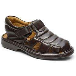 Sandália Conforto Em Couro Na Cor Café Ref. 618-30... - Sapatos de Franca