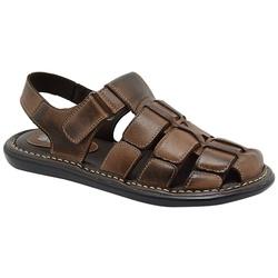 Sandália Conforto Em Couro Na Cor Pinhão-459-501 - Sapatos de Franca