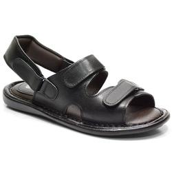 Sandália Conforto Em Couro Na Cor Preto-610-100 - Sapatos de Franca