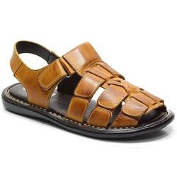 Sandália Conforto Em Couro Na Cor Whisky-603-502 - Sapatos de Franca