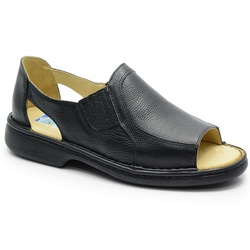 Sandália Conforto Em Couro Preto Ref. 580-651 - Sapatos de Franca