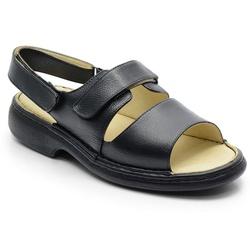 Sandália Conforto Em Couro Preto Ref.588-653 - Sapatos de Franca