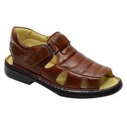 Sandália Conforto Levíssima Em Couro Cor Whisky-10... - Sapatos de Franca