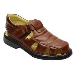 Sandália Conforto Levíssima Em Couro Cor Whisky Re... - Sapatos de Franca