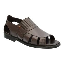 Sandália Masculina Em Couro Cor Café Ref.1396-s081... - Sapatos de Franca