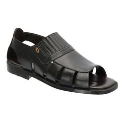 Sandália Masculina Em Couro Cor Preto Ref.1396-s08... - Sapatos de Franca