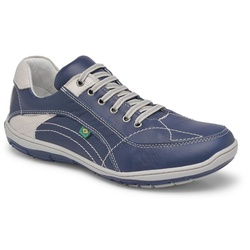 Sapatenis Casual Em Couro Cor Azul Com Gelo Ref. 4... - Sapatos de Franca
