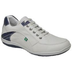 Sapatenis Casual Em Couro Cor Off White Com Azul R... - Sapatos de Franca