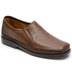Sapatilha Masculina Conforto Em Couro Cor Mouro-71... - Sapatos de Franca
