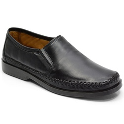 Sapatilha Masculina Conforto Em Couro Cor Preto Re... - Sapatos de Franca