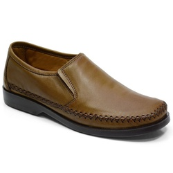 Sapatilha Masculina Conforto Em Couro Cor Whisky-7... - Sapatos de Franca