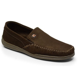 Sapatilha Masculina Em Couro Cor Café Ref. 686-511... - Sapatos de Franca