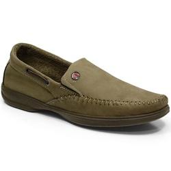 Sapatilha Masculina Em Couro Cor Cimento Ref. 640-... - Sapatos de Franca