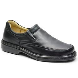 Sapato Conforto Em Couro Cor Preto Ref. 622-2001 - Sapatos de Franca