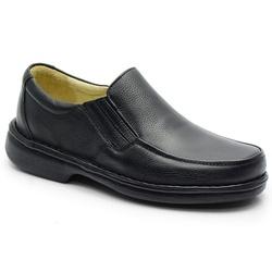 Sapato Conforto Em Couro Preto Ref. 582-606 - Sapatos de Franca