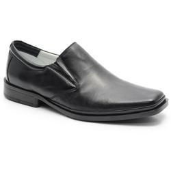 Sapato Linha Conforto Em Couro Na Cor Preto Ref. 5... - Sapatos de Franca