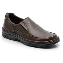 Sapato Masculino Em Couro Na Cor Café Linha Confor... - Sapatos de Franca