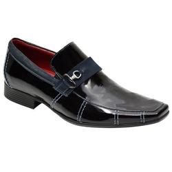 Sapato Social Verniz Preto Detalhes Marinho Ref. 9... - Sapatos de Franca