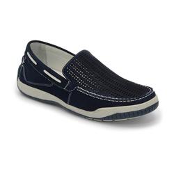 Sider Conforto Em Couro Marinho Ref. 1285-6008 - Sapatos de Franca
