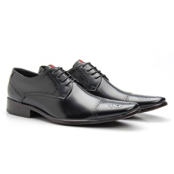 Sapato Brogue Cromo Preto - Sapatos de Franca