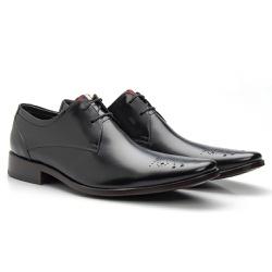 Sapato Brogue de Amarrar cor Preto - Sapatos de Franca