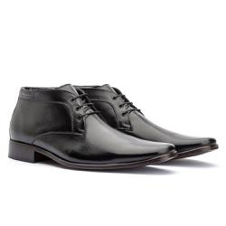 Bota Social Masculina Ankle Boot Cor Preto - Sapatos de Franca