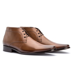 Bota Social Masculina Ankle Boot Cor Whisky - Sapatos de Franca