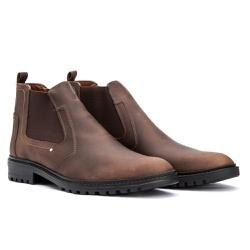 Bota Chelsea Casual Masculino em Couro Nobuck Brow - Sapatos de Franca