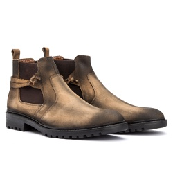 Bota Chelsea Casual Masculino em Couro Nobuck Rato - Sapatos de Franca