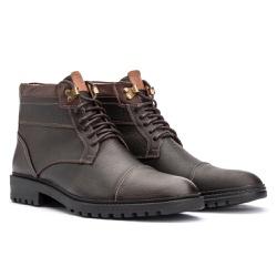 Bota Coturno Casual Masculino em Couro Brown - Sapatos de Franca