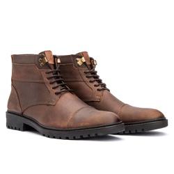 Bota Coturno Casual Masculino em Couro Taupe - Sapatos de Franca