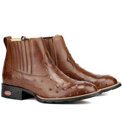 Botina Couro Legitimo Estampa de Avestruz Marrom - Sapatos de Franca