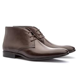 Bota Casual Brogue Em Couro Ref-2970 Café - Sapatos de Franca