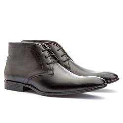 Bota Casual Brogue Em Couro Ref-2970 Preto - Sapatos de Franca