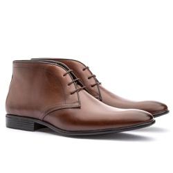 Bota Casual Brogue Em Couro Ref-2970 Whisky - Sapatos de Franca