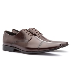 Sapato Social Masculino Fly Em Couro Ref-1009 Café - Sapatos de Franca