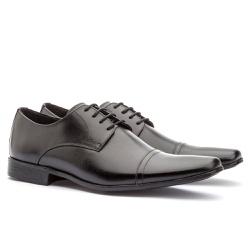Sapato Social Masculino Fly Em Couro Ref-1009 Pret - Sapatos de Franca
