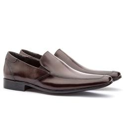 Sapato Social Masculino Fly Em Couro Ref-1014 Café - Sapatos de Franca