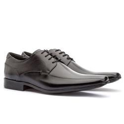 Sapato Social Masculino Fly Em Couro Ref-1024 Pret - Sapatos de Franca