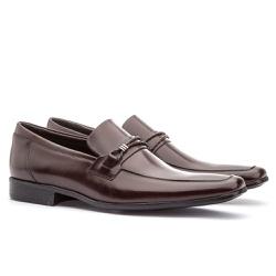 Sapato Social Masculino Fly Em Couro Ref-1029 Café - Sapatos de Franca