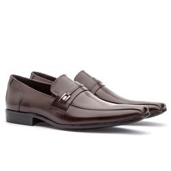 Sapato Social Masculino Fly Em Couro Ref-1035 Café - Sapatos de Franca