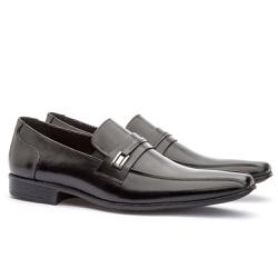 Sapato Social Masculino Fly Em Couro Ref-1035 Pret - Sapatos de Franca