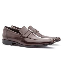 Sapato Social Masculino Fly Em Couro Ref-1044 Café - Sapatos de Franca